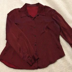Tops - Red and black checkered long sleeve button down